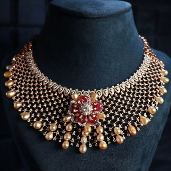 Diamonds, Pearls and Rubies Gala Necklace on black background