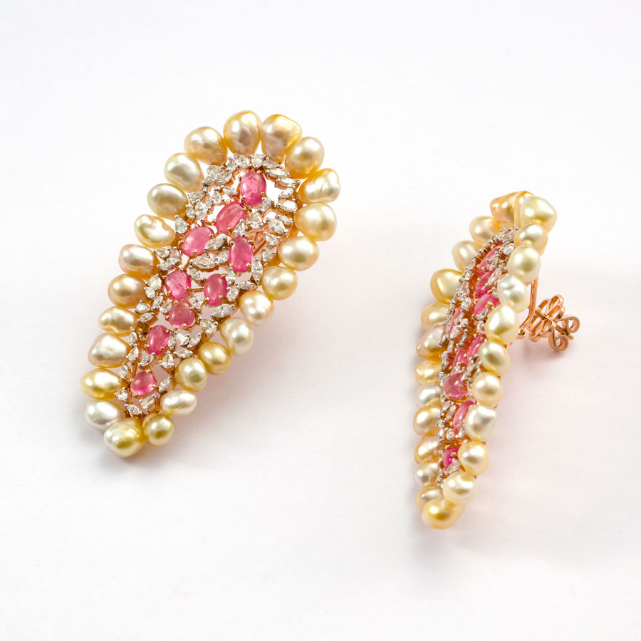 Pearls, Pink Sapphire and Diamond Earrings on a white base