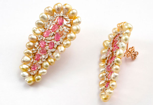 Pearls, Pink Sapphire & Diamonds earrings for Our Exquisite Collections