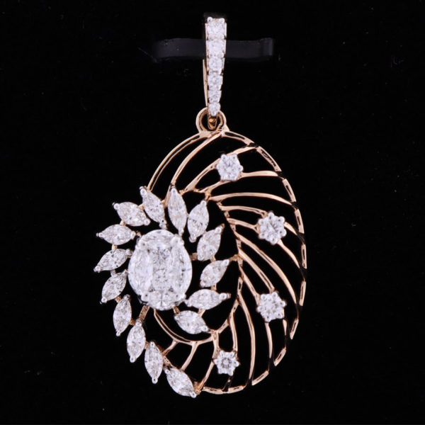 Artistic Floral Diamond Pendant Suspended on a black background