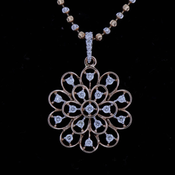 Diamonds and Rose Gold Floral Sparkling Pendant on a black background
