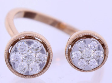 Dual Diamond and Rose Gold Ring on White Background