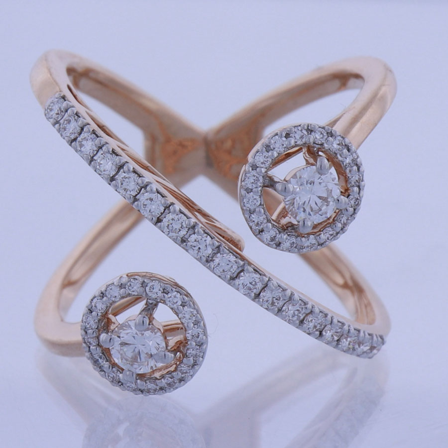 Diamonds and Rose Gold Spherical Ring white glass surface