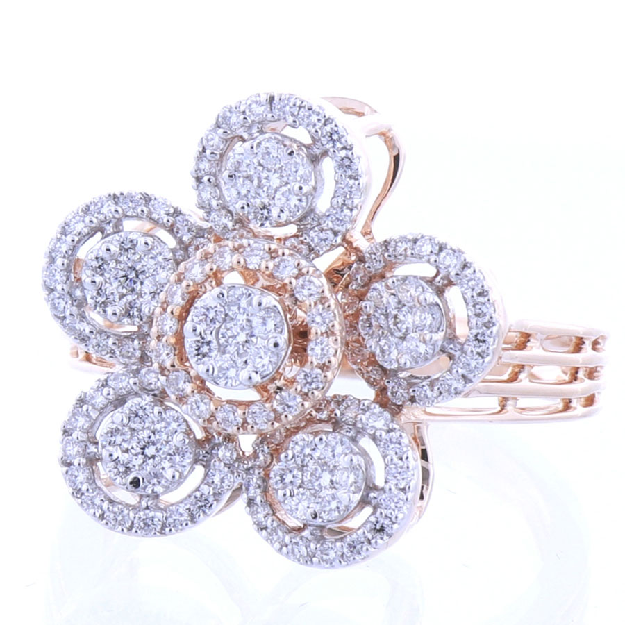 Rose Gold and Diamonds Floral Sparkling Ring on a white background