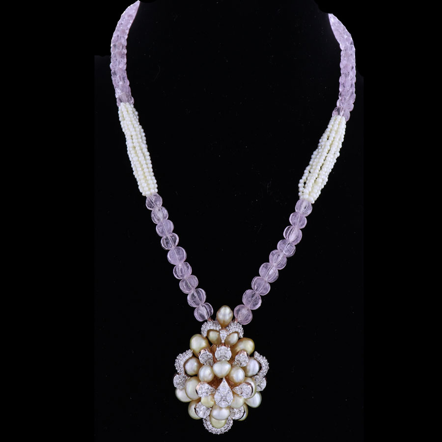 Light Purple Beads, Pearls and Diamond Necklace on a black background
