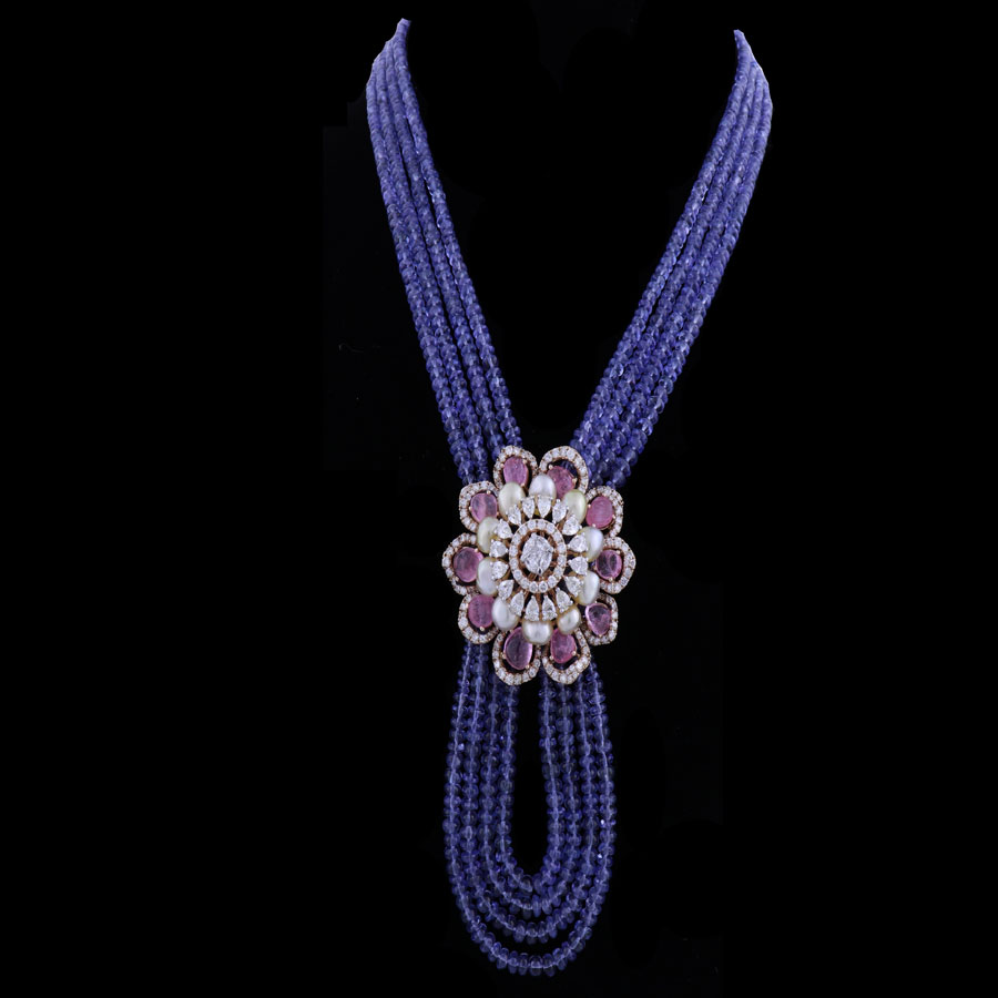 Blue Pearls and Diamond Sheer Finesse Necklace on a black background