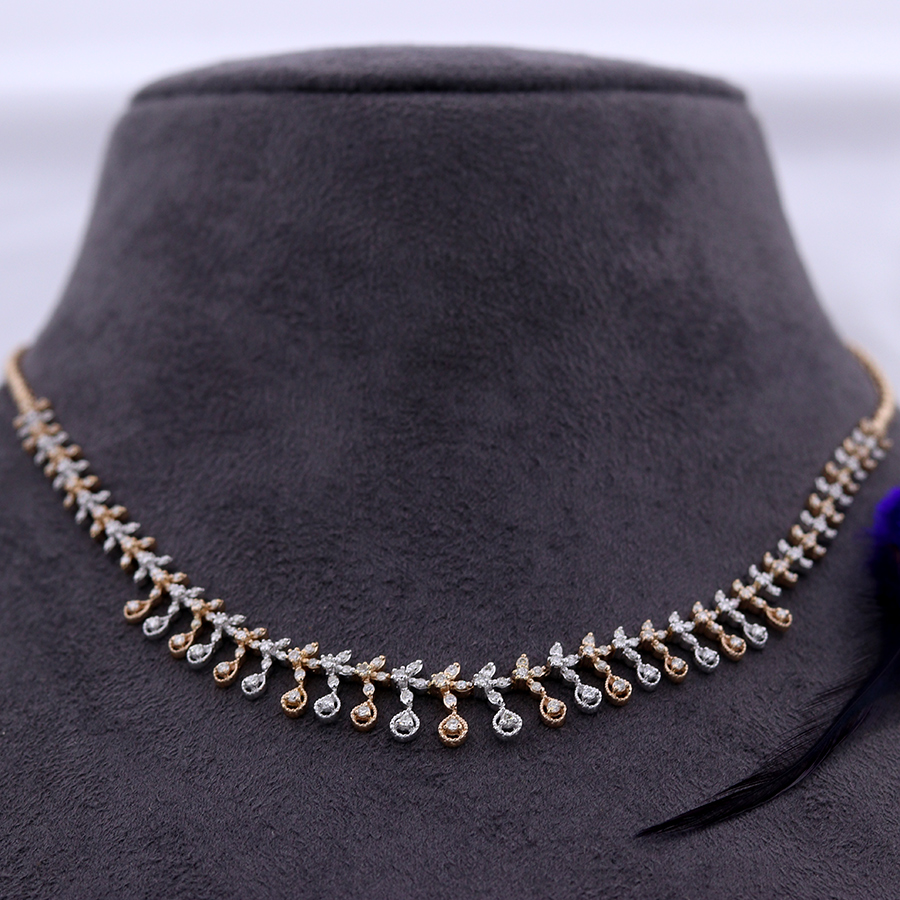 Meraki Real Diamond Necklace on a black bust and white background