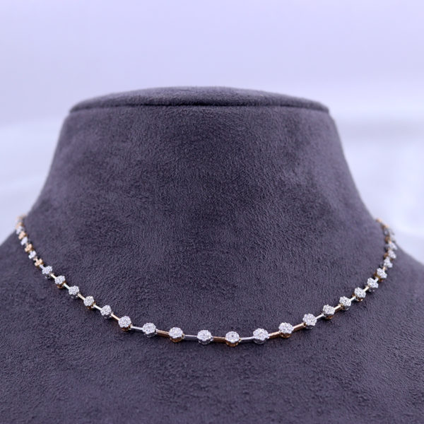 Spotted Dots Real Diamond Necklace on a black bust and a white background