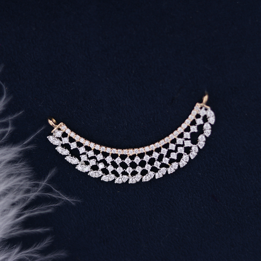 Curved Real Diamond Pendant on a dark blue background